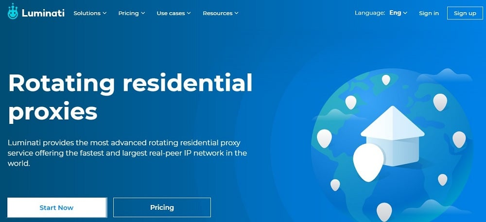 Luminati Residential Proxy Home Page