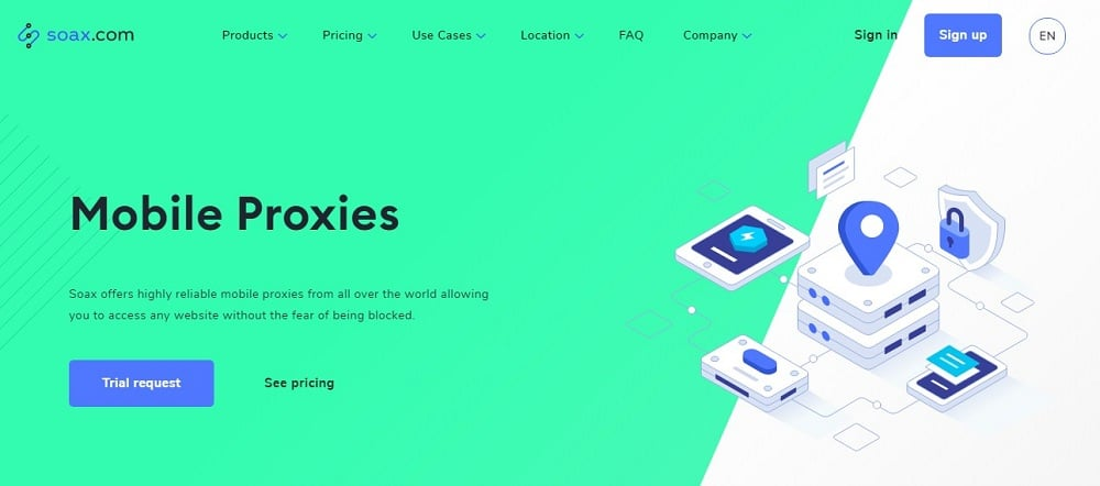 Soax Mobile proxy Home Page