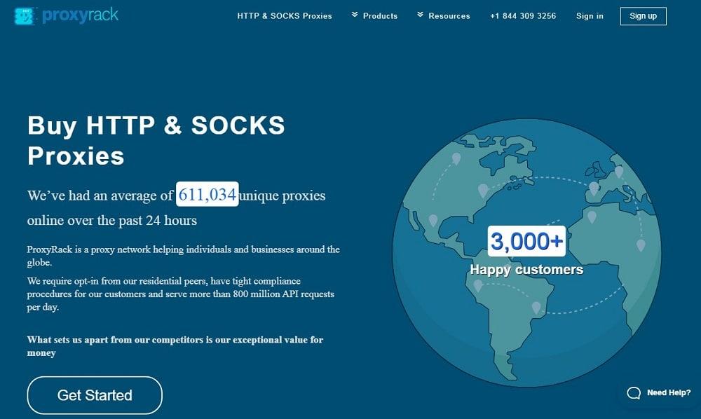 Proxyrack Homepage overview