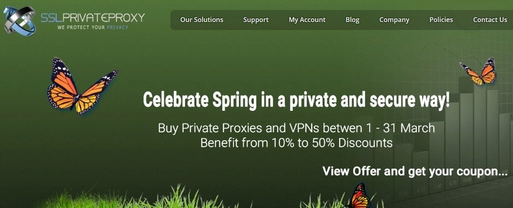 SSL Private Proxy Homepage overview