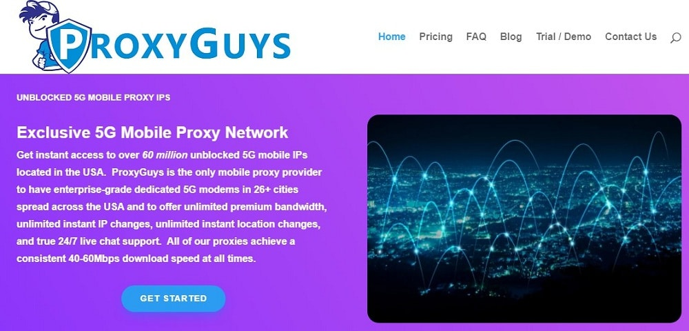 ProxyGuys Homepage overview