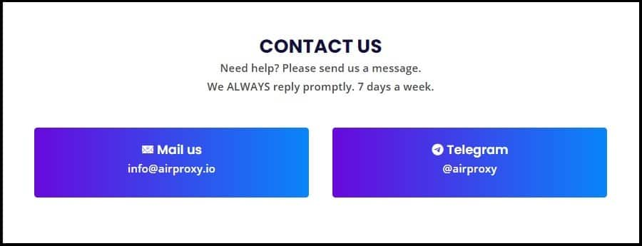 Airproxy Customer Support