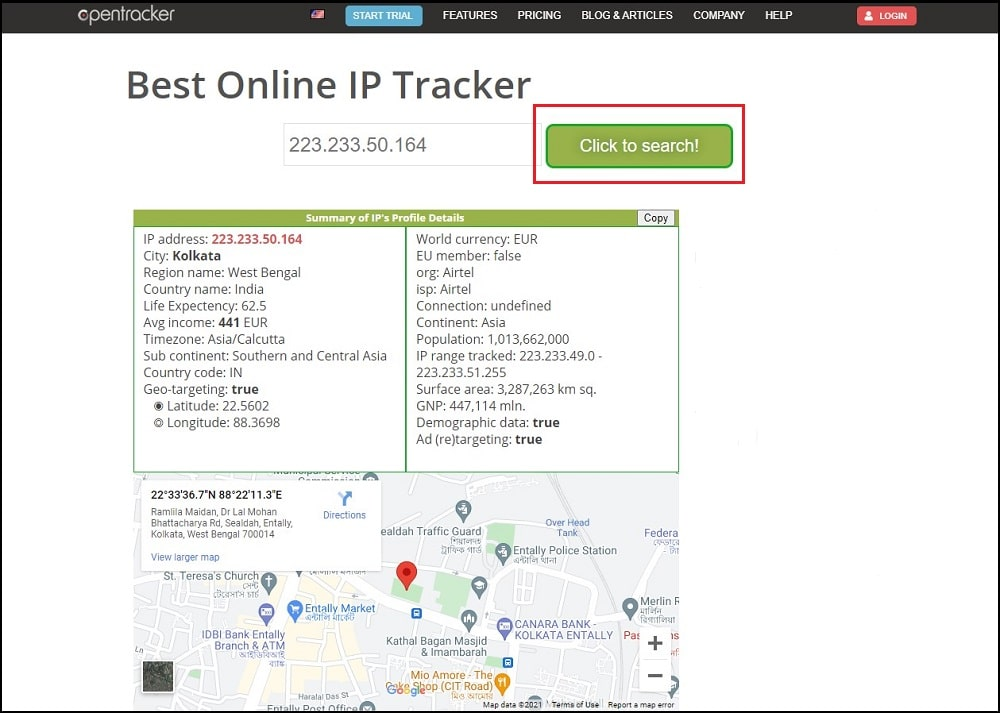 Opentracker tracking details