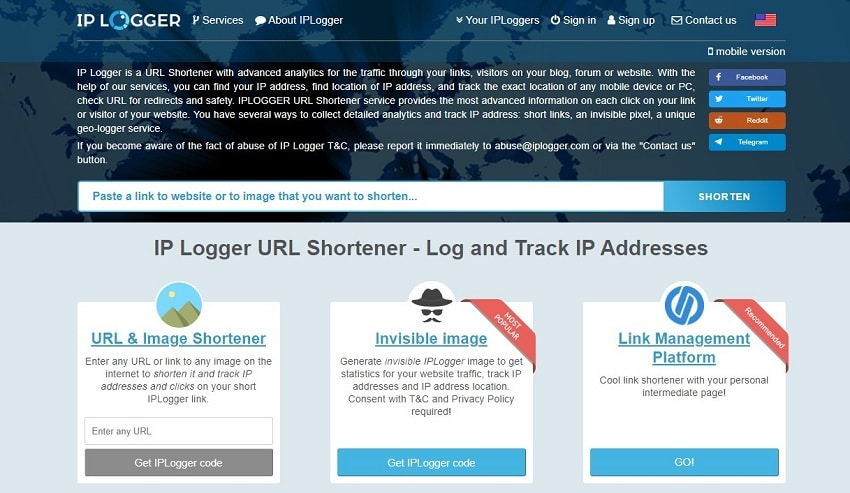 iplogger homepage