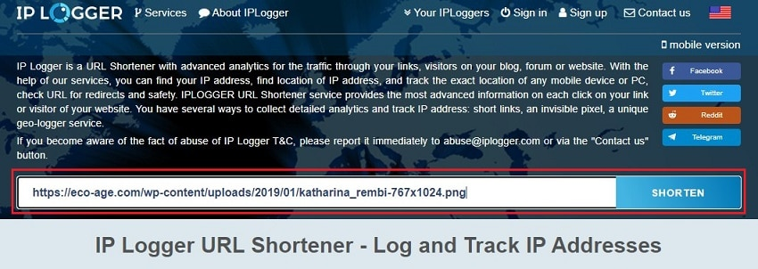 iplogger to produce short links
